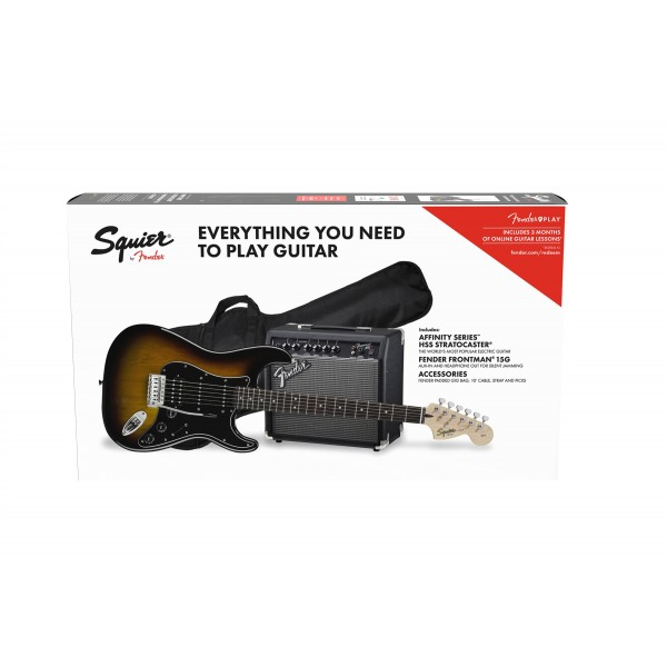 SQUIER PACK STRATO AFFINITY HSS SB Y FRONTMAN G15 caja